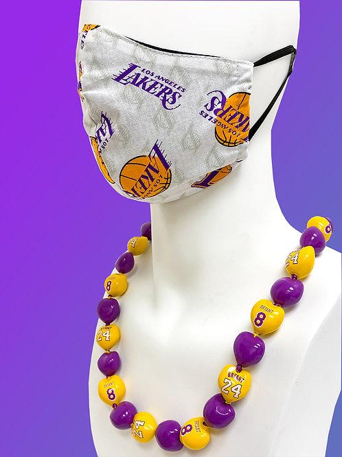 Los Angeles Lakers Face Mask & KB Kukui Nut Lei Bundle