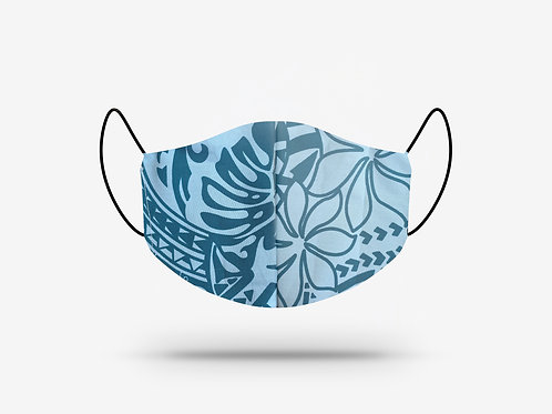 Teal and Light Blue Hibiscus Cotton Face Mask