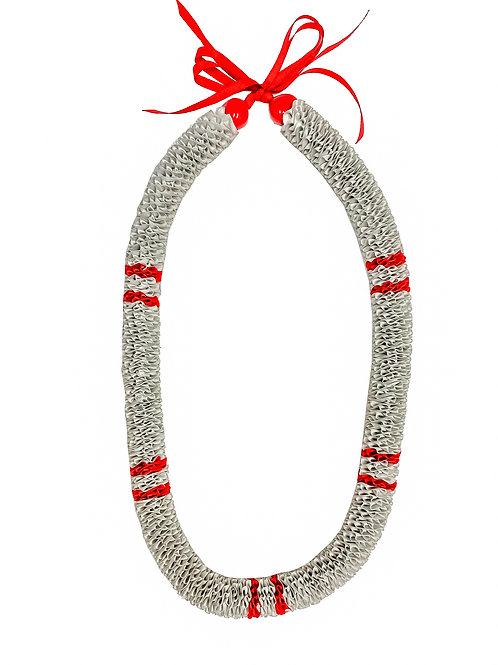 Silver with Red Stripes Ilima Lei