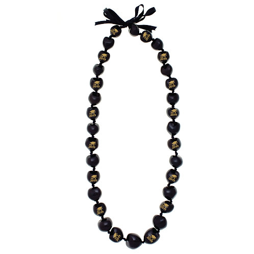 Black Kukui Nut Lei w/ Gold Class of 2019 Print