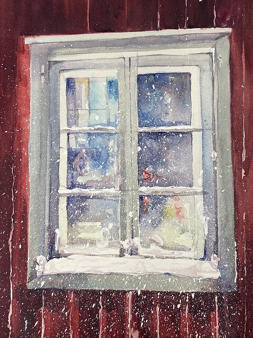 Ett snöigt fönster