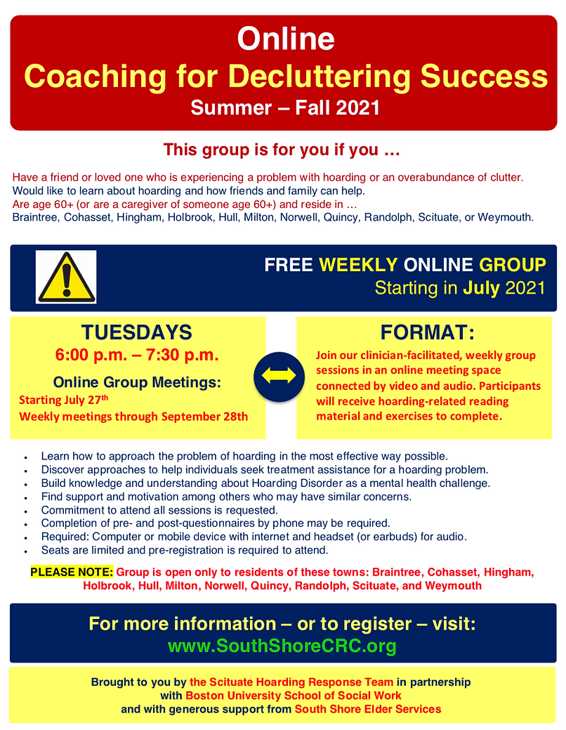 Spring 2021 Coaching for Decluttering Su
