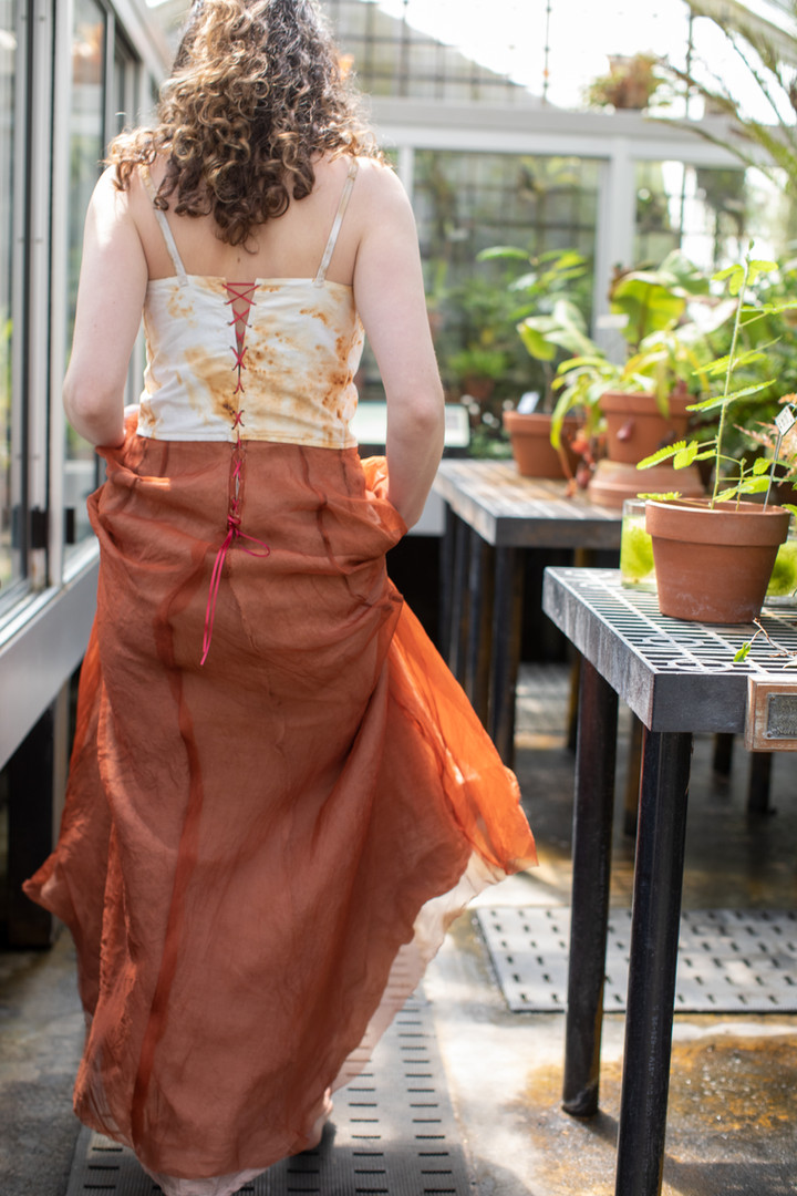 Transformation Gown. Cotton,linen, silk, dyed with cutch, madder root, and  treated with rust.