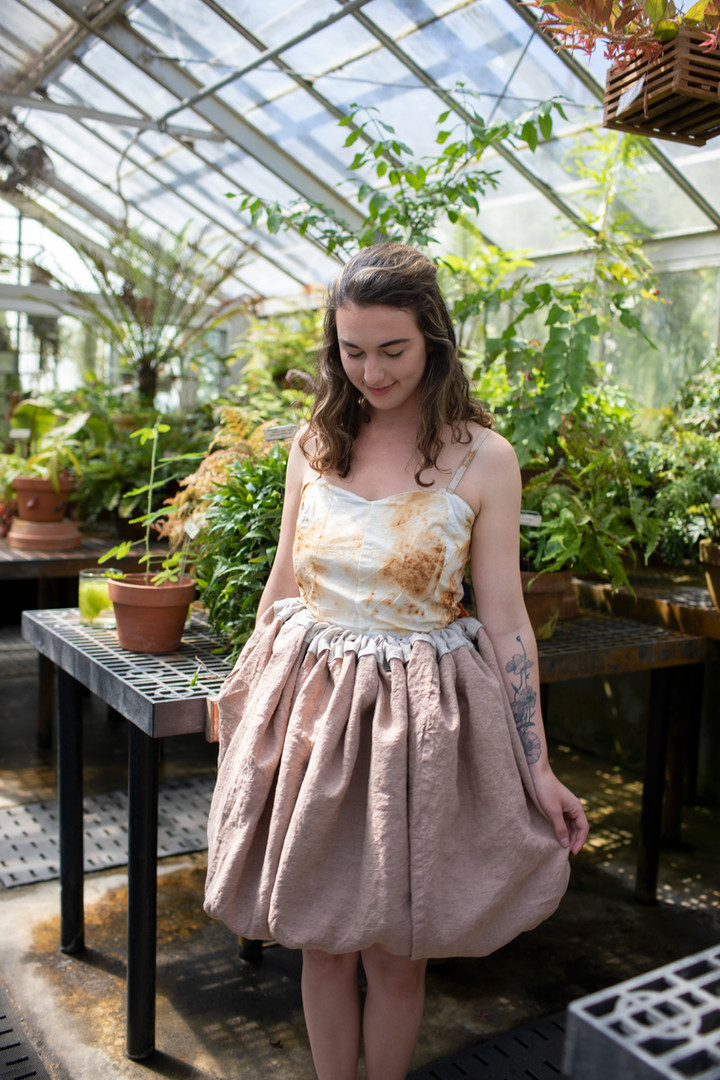 Transformation Gown. Cotton, Silk, linen dyed cutch and madder root, and treated with rust.