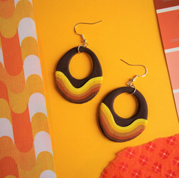 70s Inspired Drop Polymer Clay Earrings