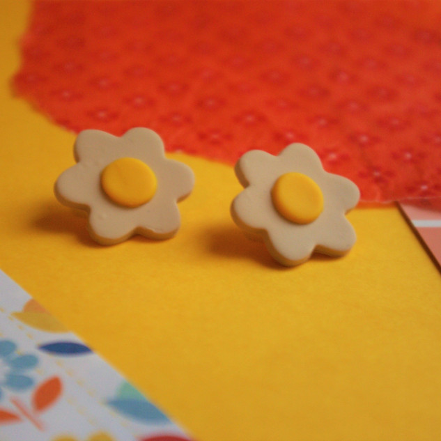 60s Inspired Stud Polymer Clay Earrings