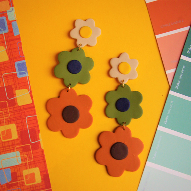 60s Inspired Dangle Polymer Clay Earrings