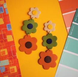 60s Inspired Dangle Polymer Clay Earrings