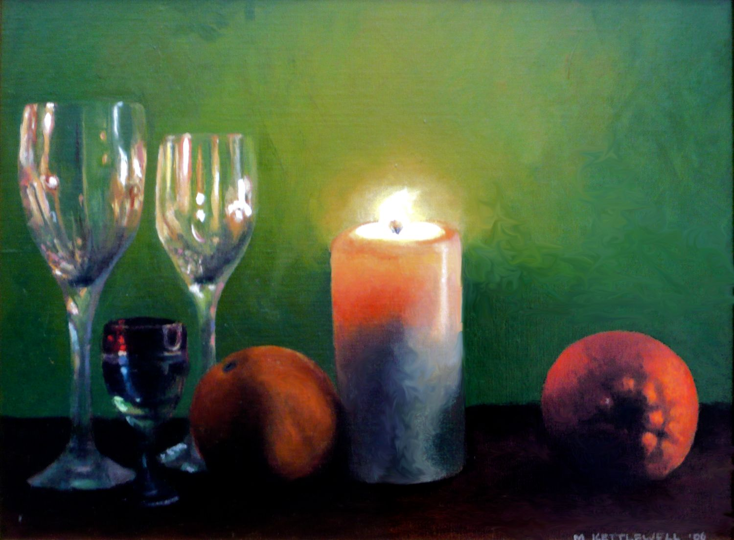 Still Life with Candle in Green
