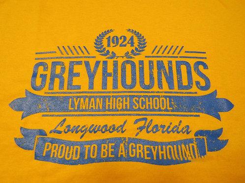 1924 GREYHOUNDS Cotton T-Shirt - Yellow