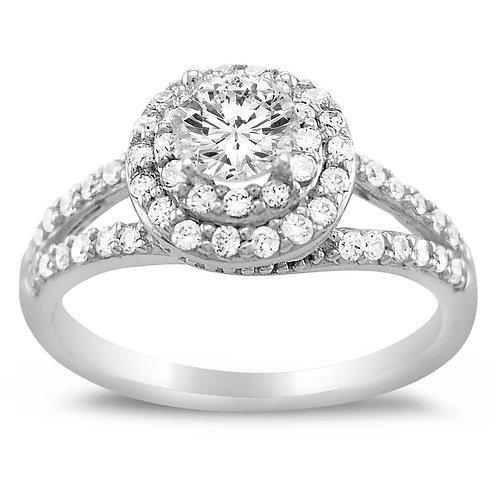 14k White Gold 1ct TGW Round-cut Diamonette Engagement Ring