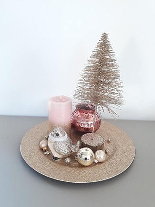 Composition centre de table sapin paillettes