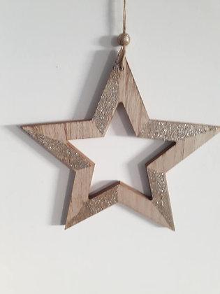 Grande étoile en bois avec paillettes dorées