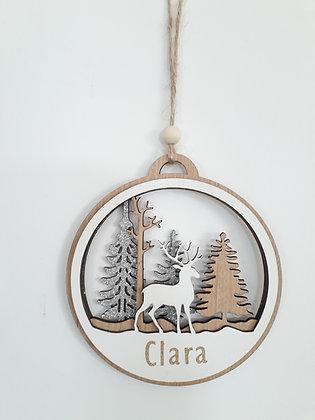 Boule de Noël en bois - Forêt enchantée - A personnaliser