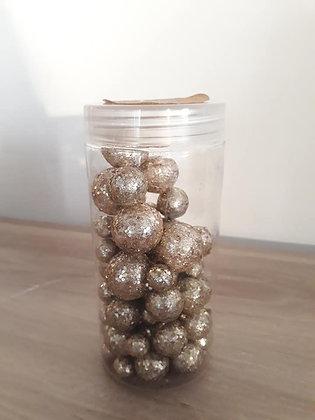 Assortiment de petites boules décoratives paillettes dorées