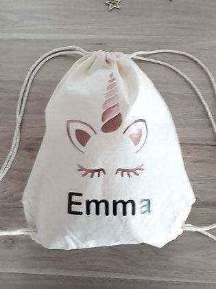 Petit sac à dos tissus et cordelette - A personnaliser