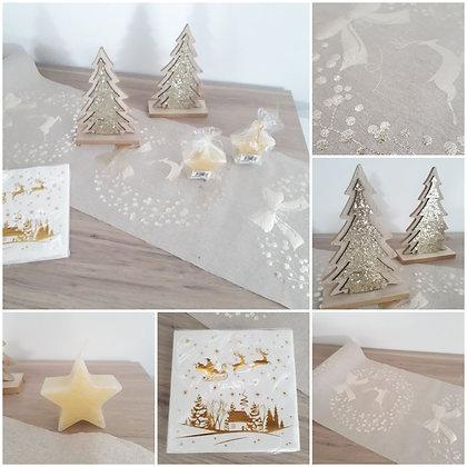 Pack 11 - Noël couronne dorée Lin & or