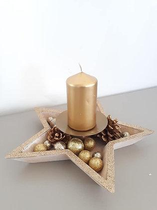 Composition étoile centre de table bougie dorée
