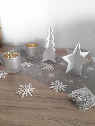 Pack  8 - Noël gris étoiles blanches