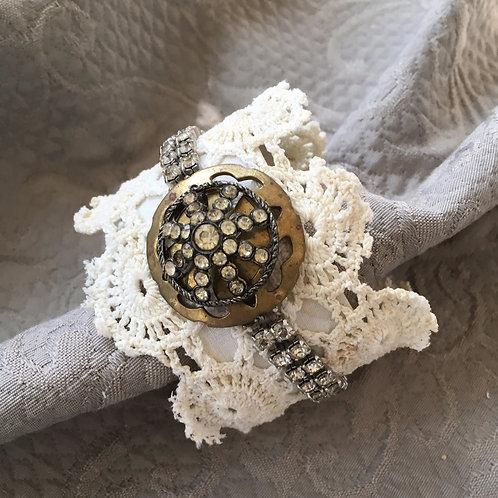 Crochet Medallions with Vintage Rhinestones