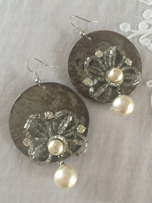 French Funeral Glass Flowers & Pearls