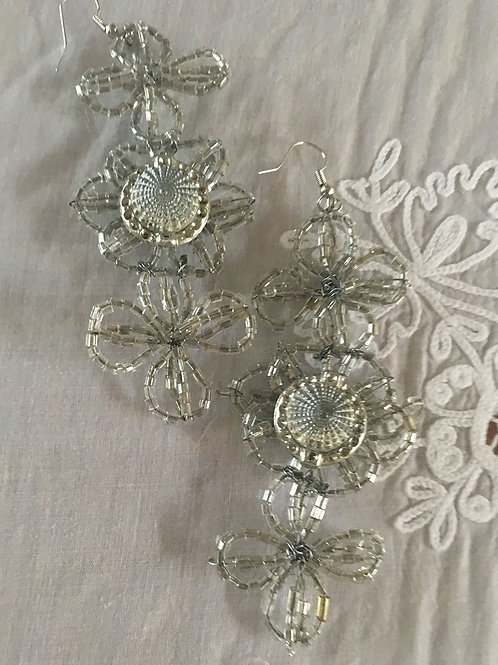 French Funeral Glass Flowers