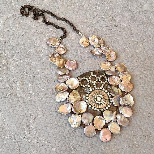 Gray Baroque Pearls & Vintage Rhinestones