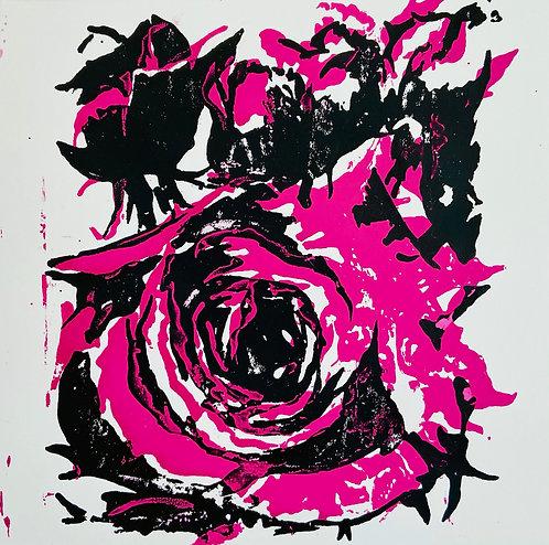 pink rose bud framed