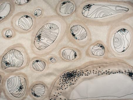 Linen cells, a mixed media and fibre work