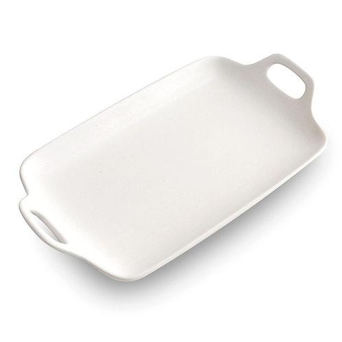 瑞典【GREEGREEN】雙耳長型陶瓷餐盤 13吋(白色)