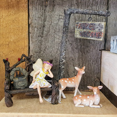 Fairy Garden Welcome Sign & Post, Fawns, Hattie Fairy, Cardinal Bench & Basket