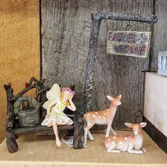 Fairy Garden Welcome Sign & Post, Fawns, Hattie Fairy, Cardinal Bench & Basket