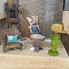 Fairy Garden Chair, Ladder, Digging Dog Birdbath, Mailbox & Fairy Brianne