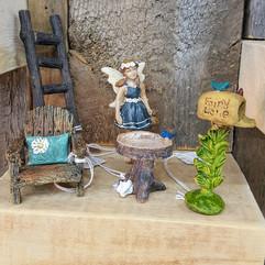 Fairy Garden Chair, Ladder, Digging Dog Birdbath, Mailbox & Fairy Brianne