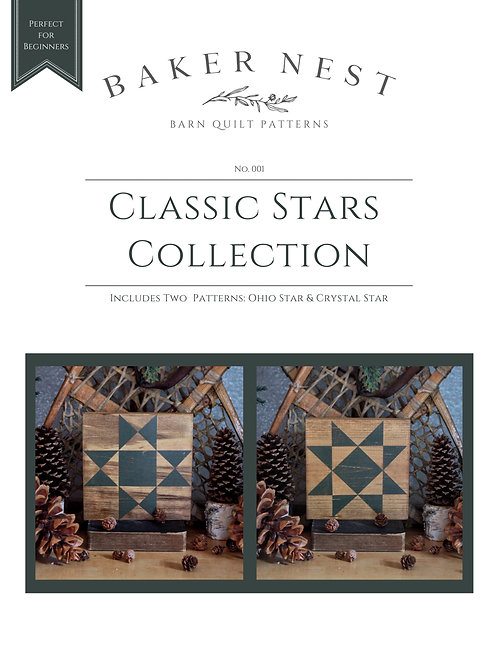 Classic Stars Collection (Set of 2) Barn Quilt Pattern DIY KIT