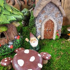 Fairy Garden Church, Gnome & Mushroom Table & Chairs