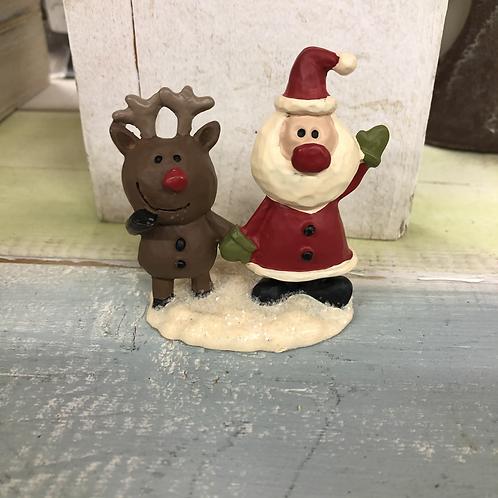 Reindeer Santa Figurine