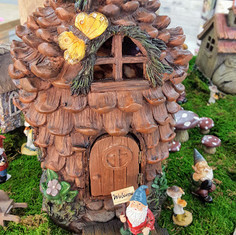 Fairy Garden Pinecone House, Bridge & Gnomes