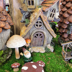 Fairy Garden House, Mushroom Table & Chairs, & Gnome