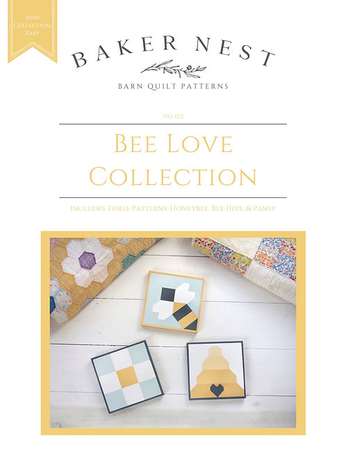 Bee Love Collection (Set of 3) Barn Quilt Pattern DIY KIT