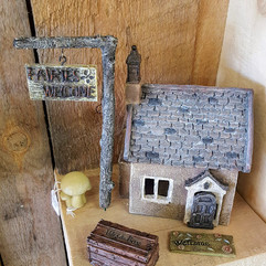 Fairy Garden House, Wish Box, Welcome Sign & Post, Welcome Mat & Mushrooms
