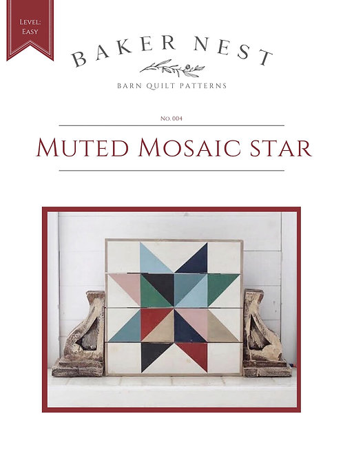 Muted Mosaic Star Barn Quilt Pattern DIY KIT
