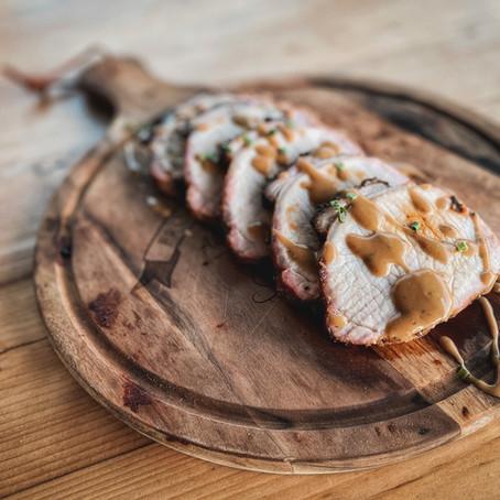 Beer Brined Smoked Pork Loin Roast w/ Honey Mustard Glaze