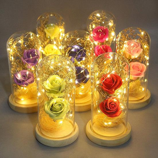 Eternal Rose Glass Flower  LED Lamp