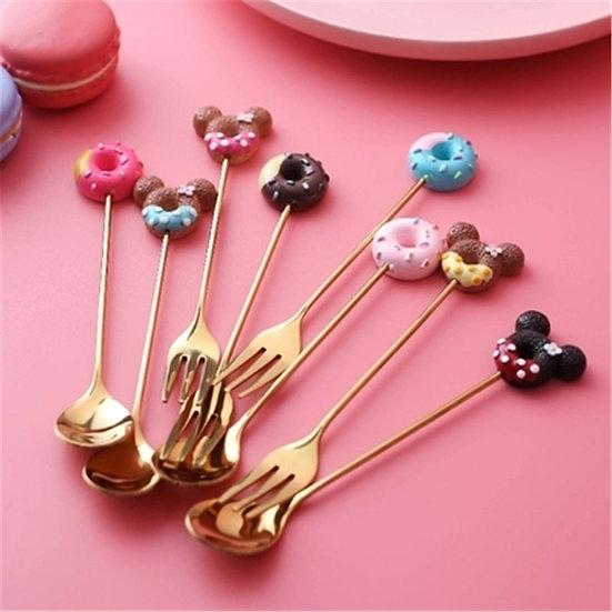 Golden Spoon Fork and Teaspoon