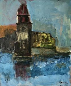 Collioure, reflet de l'eglise, 45x55cm, Acrylique sur toile, 2018 sm
