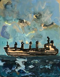 En mer, 100x80cm, 2017, acrylique sur toile, Tina Kambani