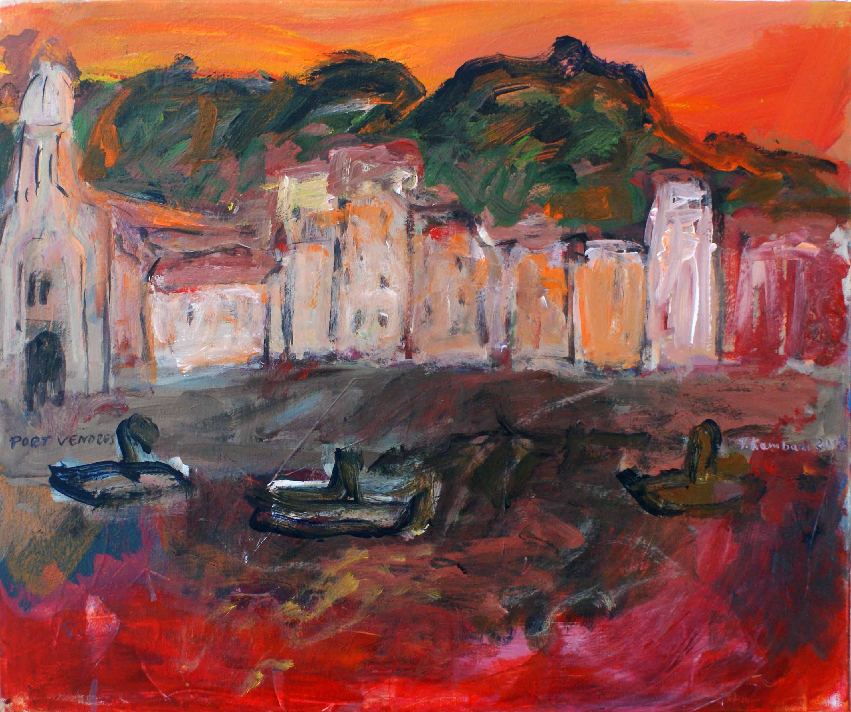 Port vendres petit rouge, 55x45cm, Acrylique, 2017 sm