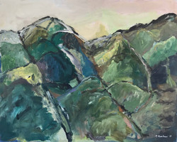 Symphonie en vert, 80x100cm,acrylique sur toile, 2017