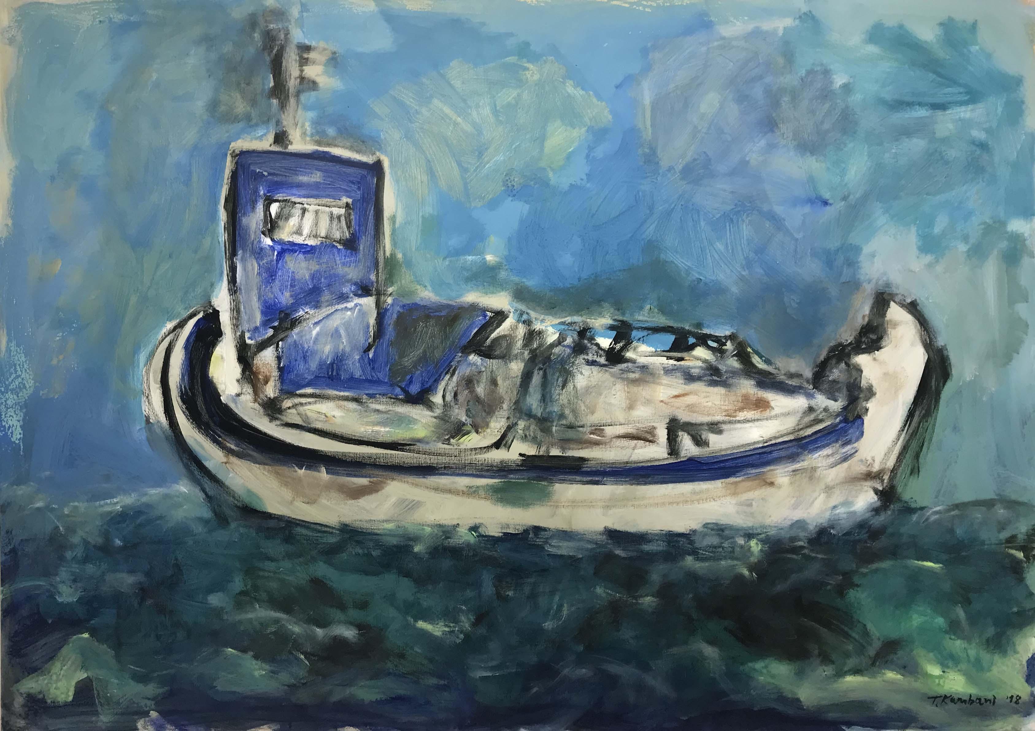 varka gialo, 140x100cm, Acrylique sur toile, 2018 sm